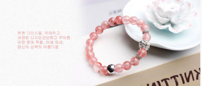 Vòng tay đá tự nhiên thạch anh hồng Hàn Quốc hợp mệnh Hỏa, mệnh Thổ5
