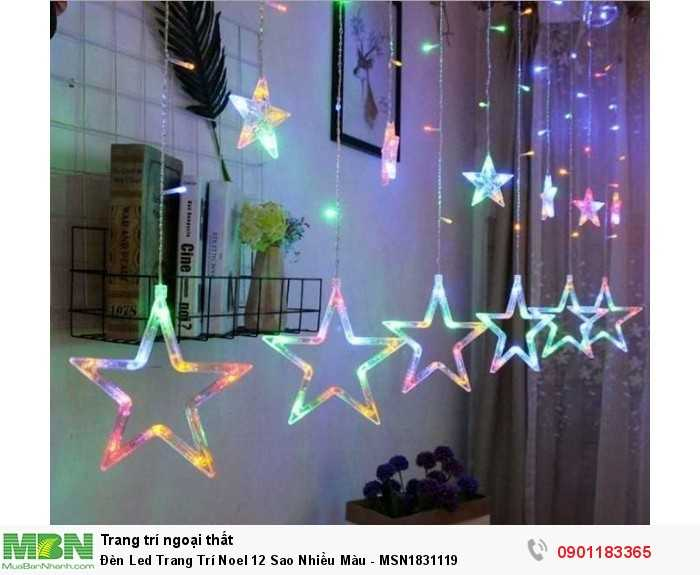 Bộ Dây Đèn Led 12 Sao Nhiều Màu là sản phẩm trang trí nhà cửa vào các dịp Noel, Tết, …0
