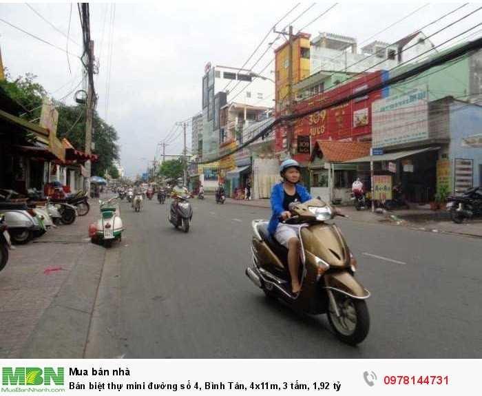 Bán biệt thự mini đường số 4, Bình Tân, 4x11m, 3 tấm