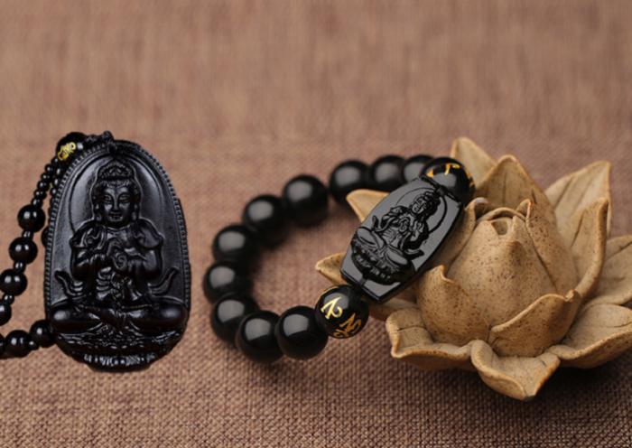 Bộ vòng đá tự nhiên hộ mệnh Như Lai Đại Phật hộ mệnh tuổi Mùi,Thân tặng hộp bảo quản trang sức2