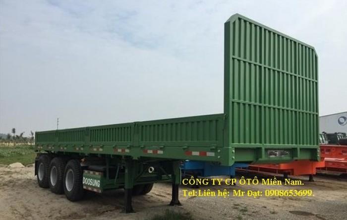 Bán phân phối Mooc Doosung sàn(thành lửng) 40 feet,3 trục,xe có sẵn, giá rẻ.