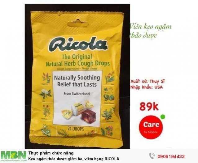 Kẹo ngậm thảo dược giảm ho, viêm họng RICOLA1