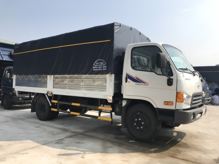 Mua trả góp xe tải Hyundai Mighty 8 tấn thùng mui bạt, trả trước 100 triệu, co...