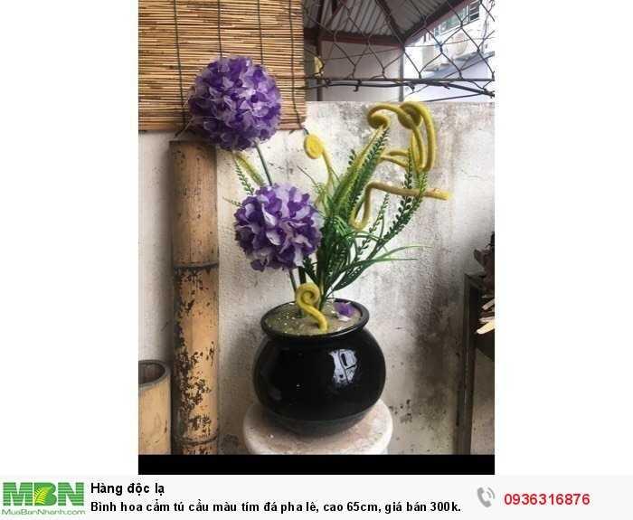 Bình hoa cẩm tú cầu màu tím đá pha lê, cao 65cm0