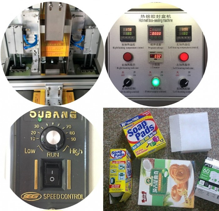 Máy dán hộp giấy keo gia nhiệt, máy đóng gói hộp cà fe bánh kẹo...1