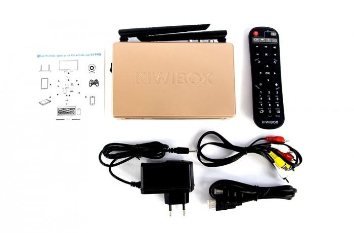 trọn bộ gồm có; Kiwibox V3 Pro, Dây HDMI, AV, Cục nguồn, Remote, Tờ hướng dẫn sử dụng. Đặc biệt mua tại Điện Máy Hải khuyến mãi Chuột không dây cao cấp chính hãng Kiwi V81