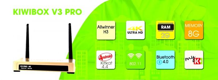 Android Tivi box Kiwi V3 Pro có bluetooth, Miracast, mẫu 2018 hỗ trợ tốt remote voice Kiwi V83