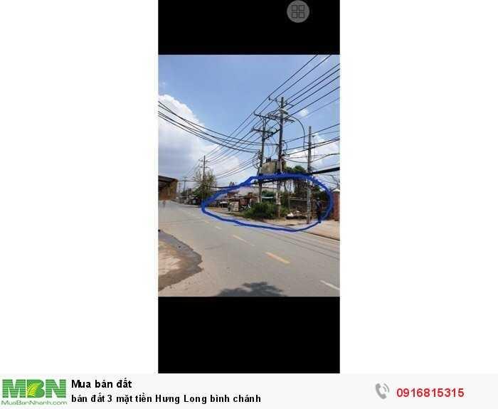 Bán đất 3 mặt tiền Hưng Long Bình Chánh