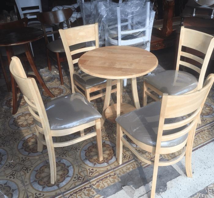 Bộ bàn ghế mặt tròn ghế bọc nệm0
