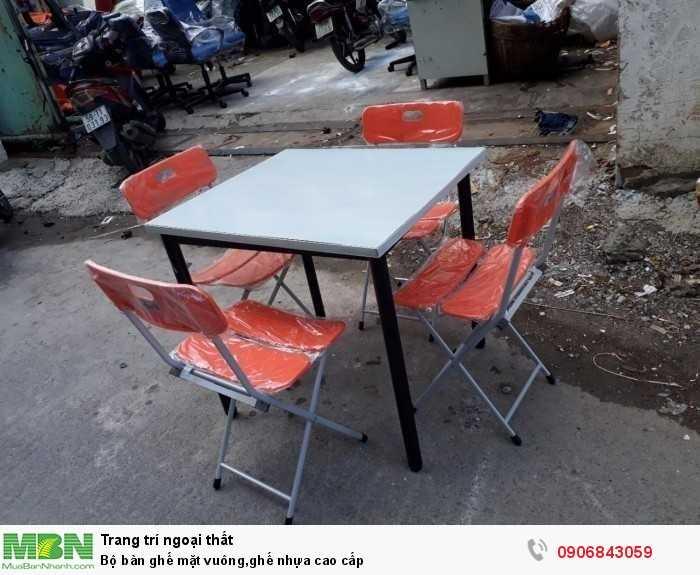 Bộ bàn ghế mặt vuông,ghế nhựa cao cấp0