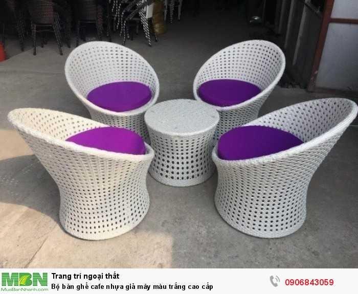 Bộ bàn ghế cafe nhựa giả mây màu trắng cao cấp