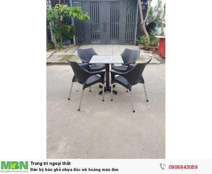 Bán bộ bàn ghế nhựa đúc nữ hoàng màu đen0