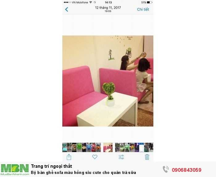 Bộ bàn ghế sofa màu hồng siu cute cho quán trà sữa0