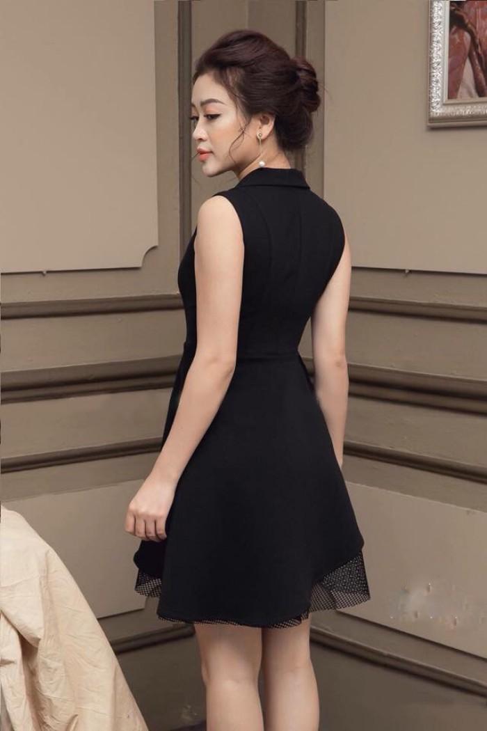 [1] Đầm xòe cổ vest phối ren (DX6664)