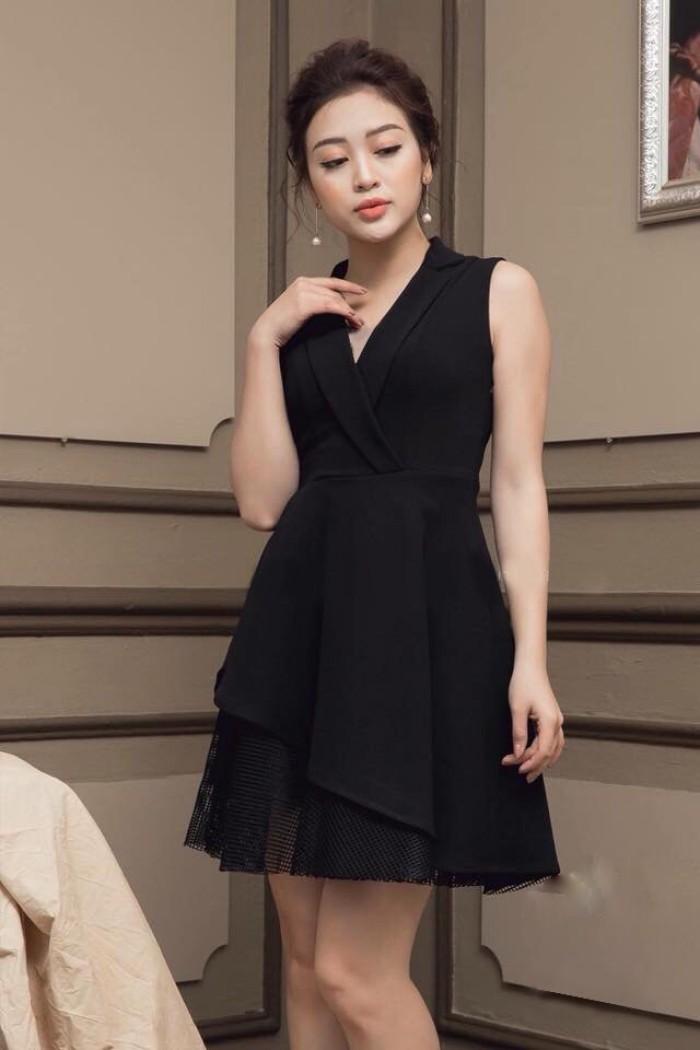 [2] Đầm xòe cổ vest phối ren (DX6664)