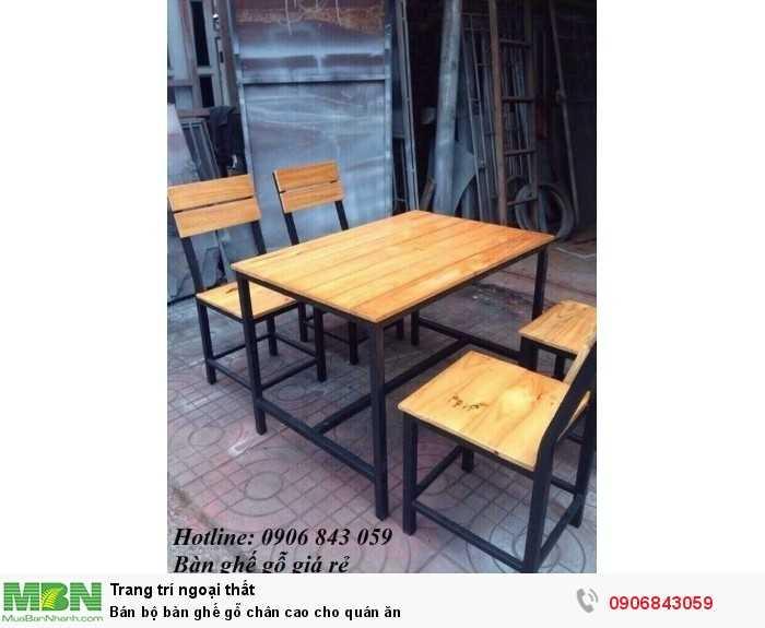 Bán bộ bàn ghế gỗ chân cao cho quán ăn0
