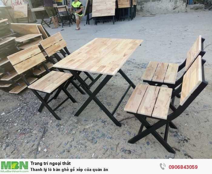 Thanh lý lô bàn ghế gỗ xếp của quán ăn0