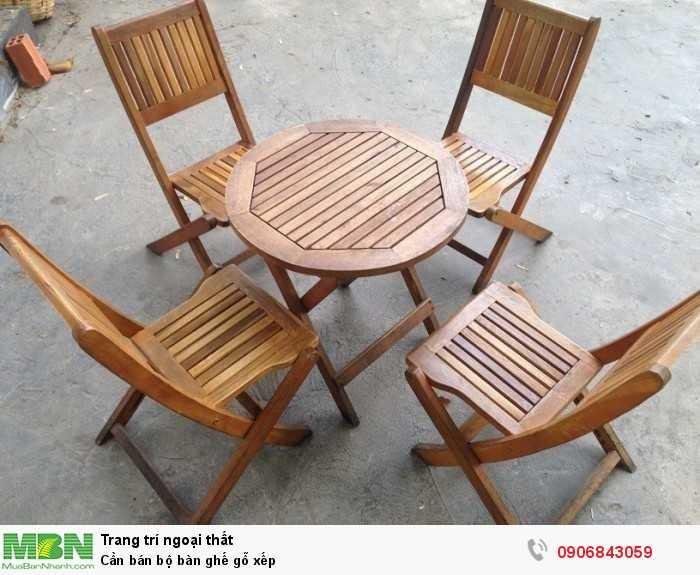 Cần bán bộ bàn ghế gỗ xếp0
