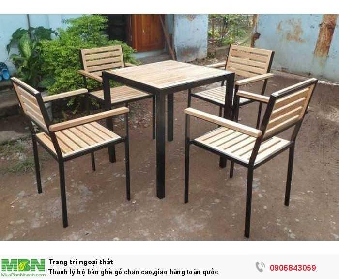 Thanh lý bộ bàn ghế gỗ chân cao,giao hàng toàn quốc0