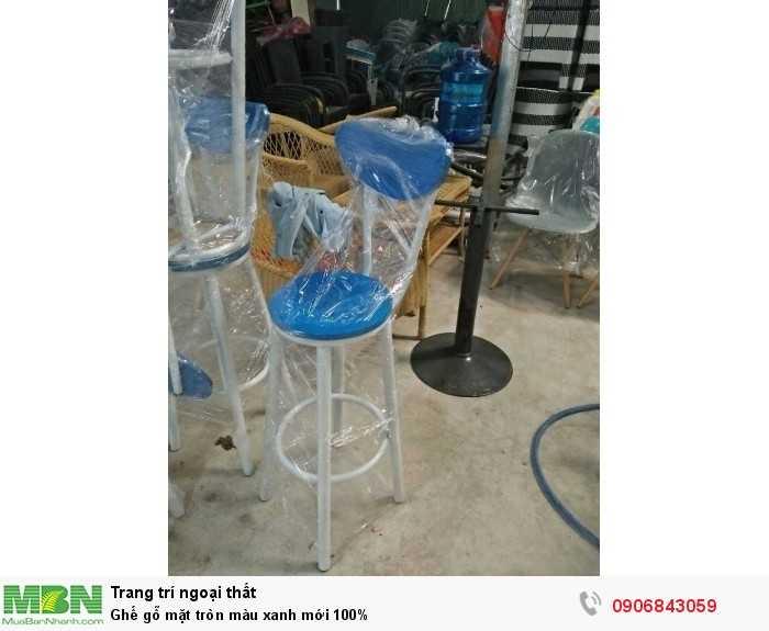 Ghế gỗ mặt tròn màu xanh mới 100%0
