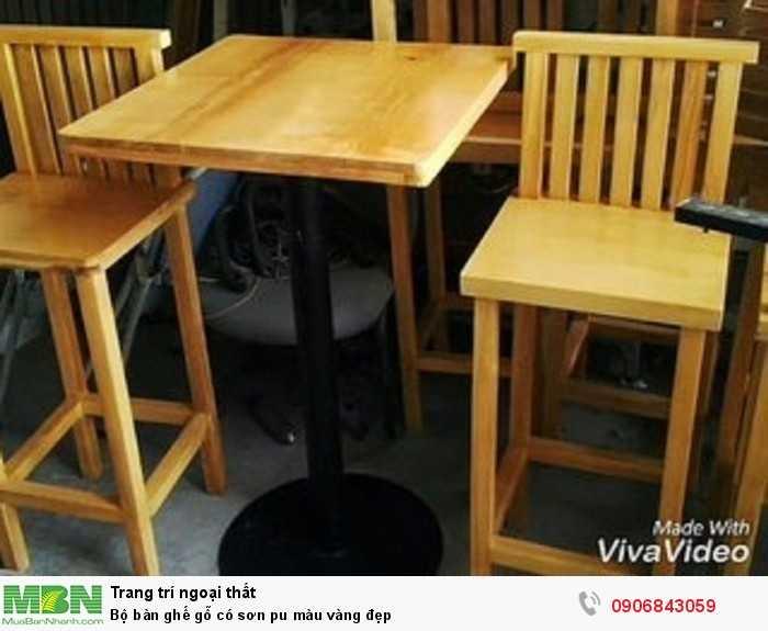 Bộ bàn ghế gỗ có sơn pu màu vàng đẹp0
