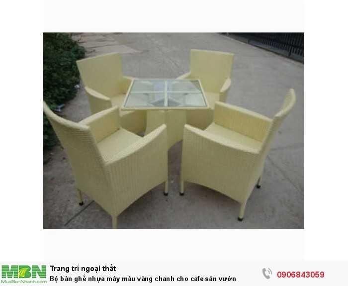 Bộ bàn ghế nhựa mây màu vàng chanh cho cafe sân vườn0