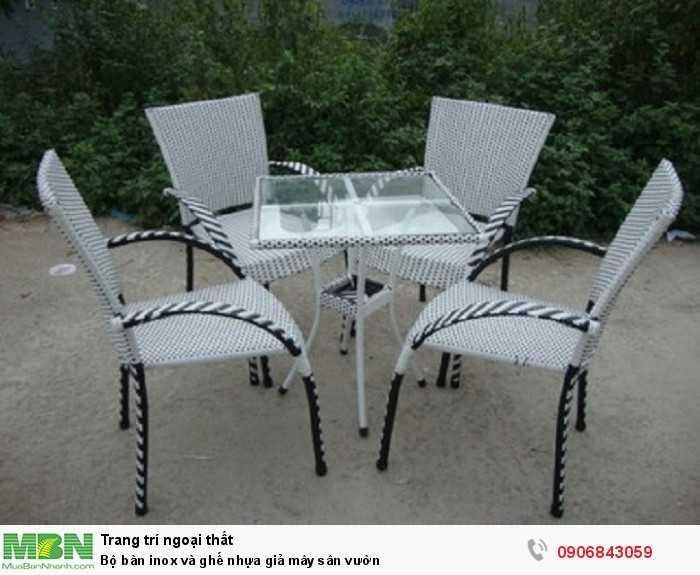 Bộ bàn inox và ghế nhựa giả mây sân vườn0