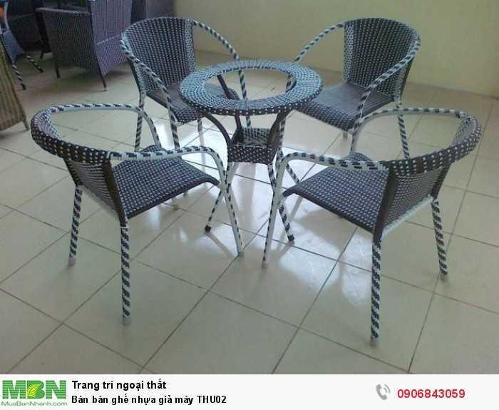 Bán bàn ghế nhựa giả mây THU020
