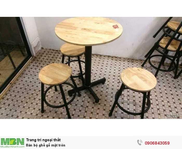 Bán bộ ghế gỗ mặt tròn0