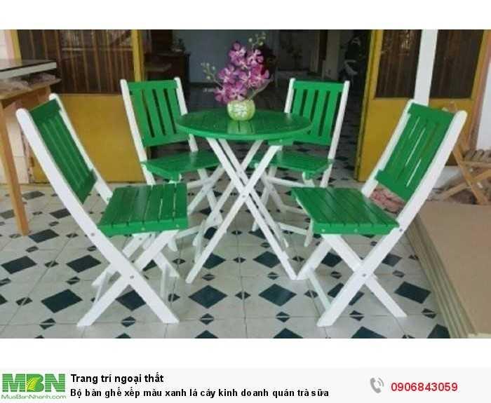 Bộ bàn ghế xếp màu xanh lá cây kinh doanh quán trà sữa