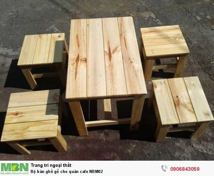 Bộ bàn ghế gỗ cho quán cafe NBM020