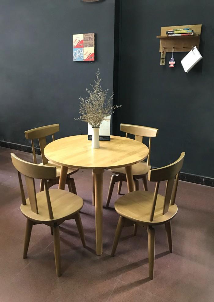 Bộ bàn tròn 4 ghế xoay0