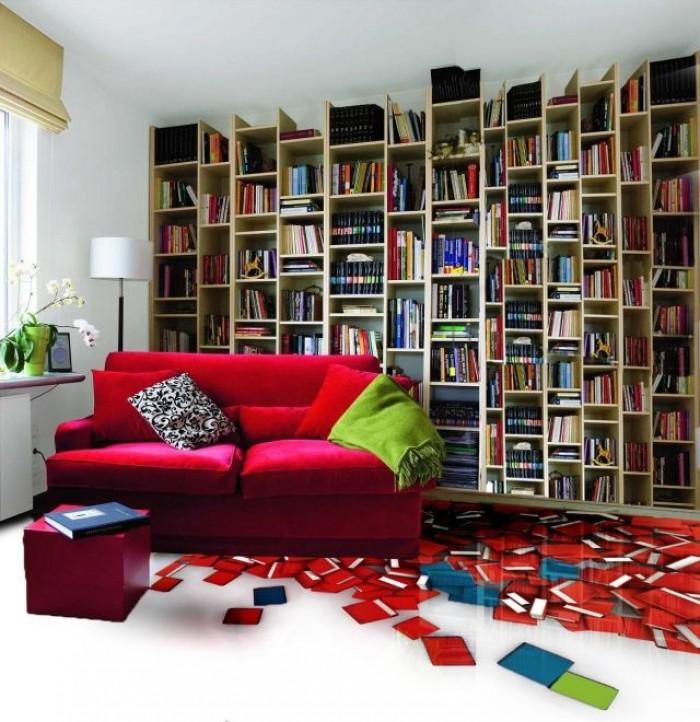 gạch 3d phòng sách1