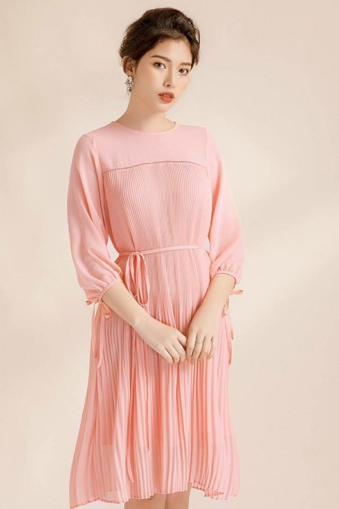 [2] Đầm suông voan dập li thắt eo (DB2450)