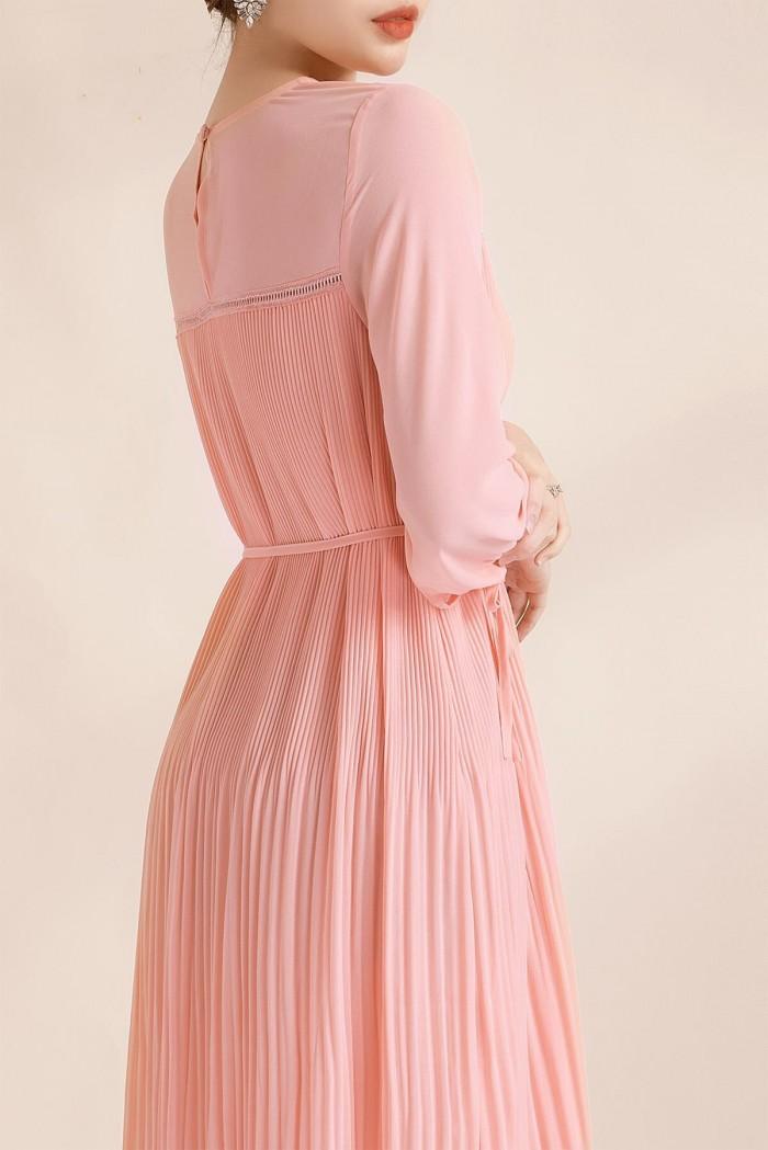 [1] Đầm suông voan dập li thắt eo (DB2450)
