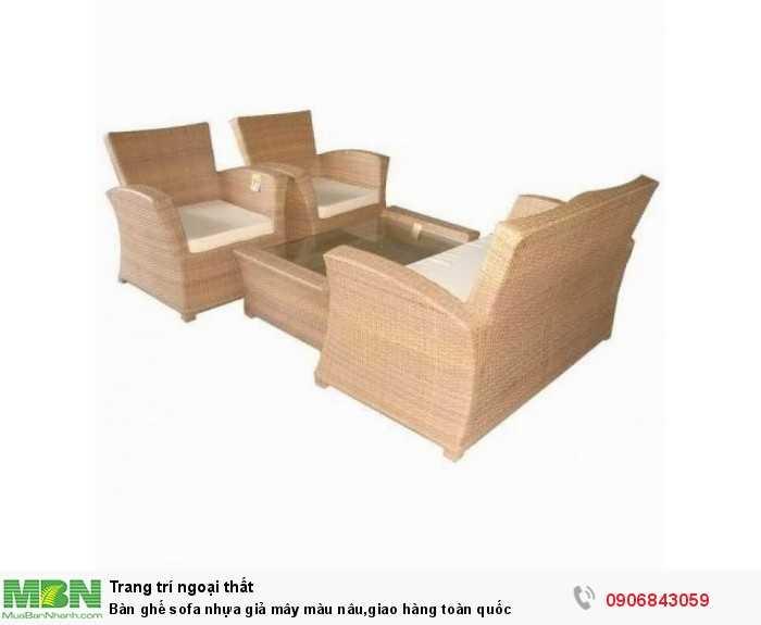 Bàn ghế sofa nhựa giả mây màu nâu,giao hàng toàn quốc0