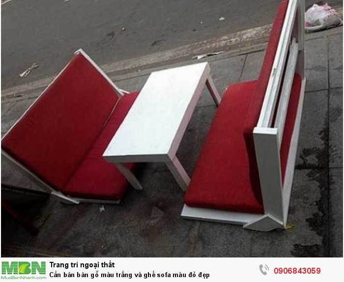 Cần bán bàn gỗ màu trắng và ghế sofa màu đỏ đẹp