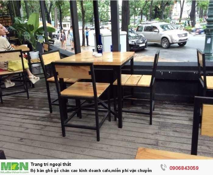 Bộ bàn ghế gỗ chân cao kinh doanh cafe,miễn phí vận chuyển0