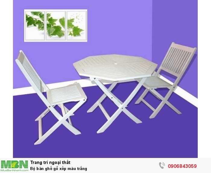 Bộ bàn ghế gỗ xếp màu trắng 0