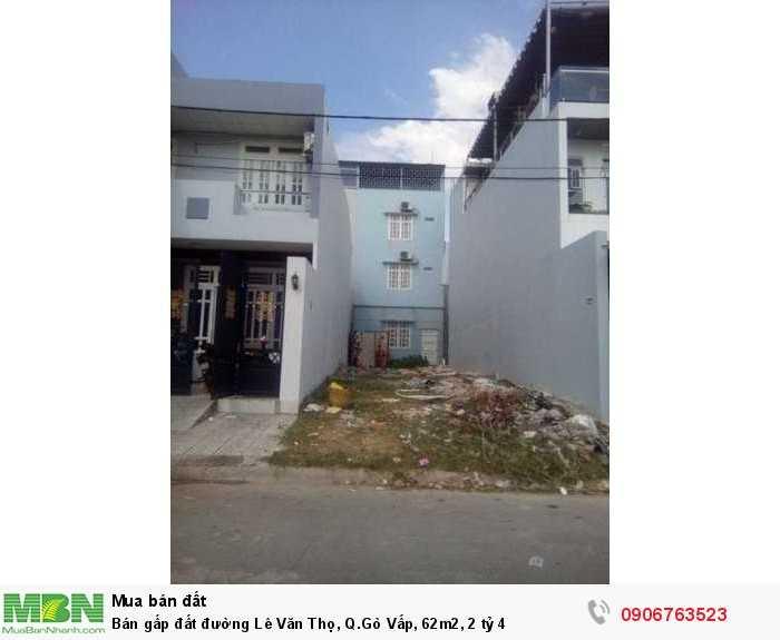 Bán gấp đất đường Lê Văn Thọ, Q.Gò Vấp, 62m2