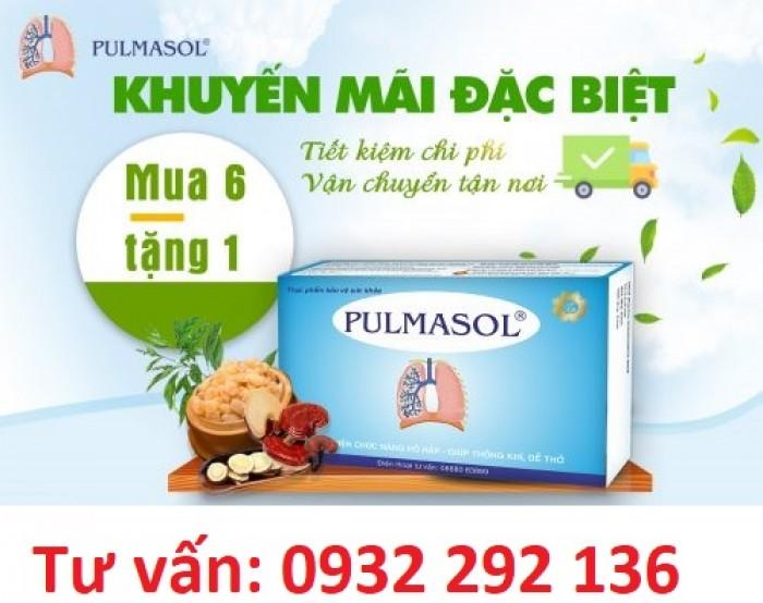 Pulmasol giúp thông khí, dễ thở, giúp giảm cảm giác tức ngực, nặng ngực khi thở. Khuyến mại đặc biệt mua 6 hộp tặng 1 hộp.