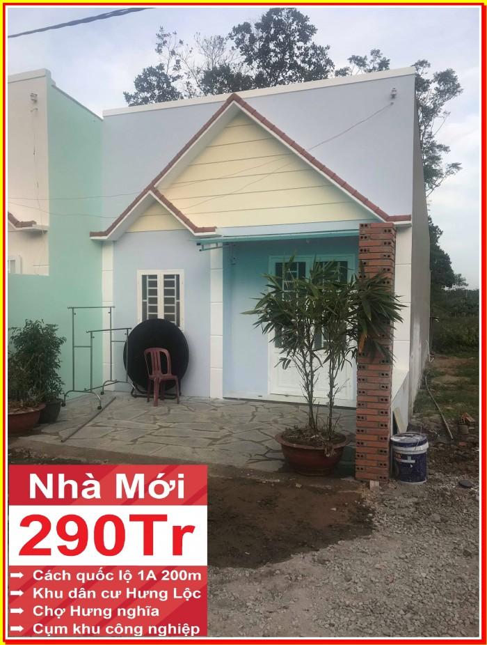Nhà mới xây xã Hưng Lộc, huyệnThống Nhất.Đồng nai.Giá 290 triệu/căn. Liền kề quốc lộ 1 A.