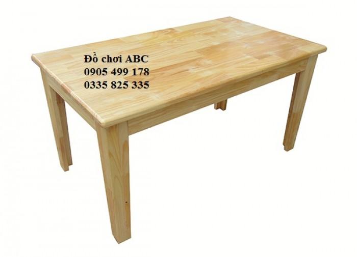 bàn gỗ hình chữ nhật mầm non