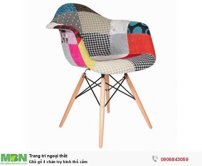 Ghế gỗ 4 chân trụ hình thổ cẩm0