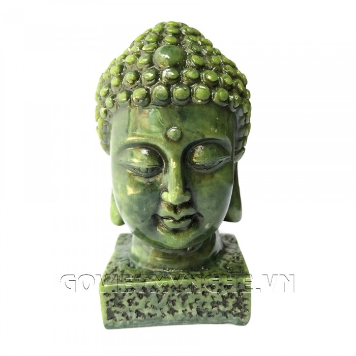 Tượng Đá Đầu Phật Thích Ca - Cao 9cm  -  Màu Xanh Lục Bích  + Kích thước: Dài 5cm x Rộng 6cm x Cao 9cm. Giá 160.000₫8
