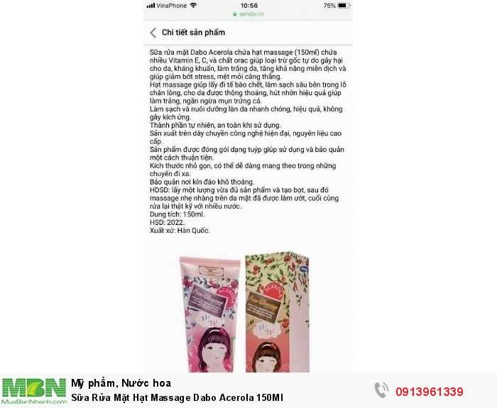 Sữa Rửa Mặt Hạt Massage Dabo Acerola 150Ml