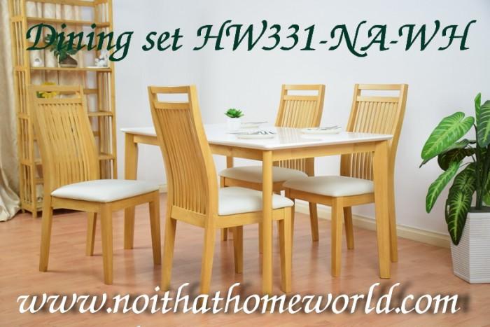 Bộ bàn ăn mặt trắng gỗ vàng- mã số HW331-NA- giá rẻ