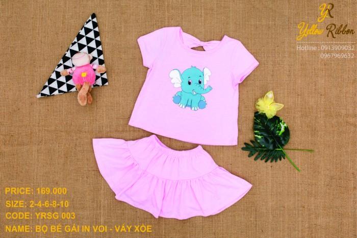 Bộ bé gái  in voi - váy xòe xinh xắn màu hồng phấn !