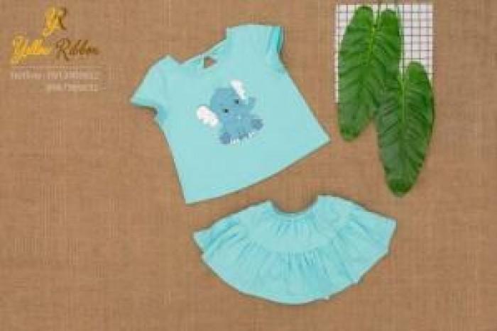 Bộ bé gái  in voi - váy xòe xinh xắn màu xanh thiên thanh!