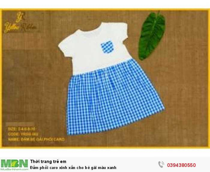 Đầm phối caro xinh xắn cho bé gái màu xanh